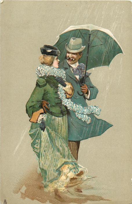 девушка и мужчина стоят под зонтиком посмотреть в глаза друг другу
