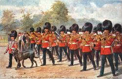 THE IRISH GUARDS WITH THEIR REGIMENTAL PET, MARCHING THRO' THE PARK