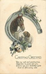CHRISTMAS GREETINGS  horse, dog, horseshoe & heather