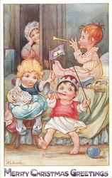 MERRY CHRISTMAS GREETINGS  two boys play trumpets, girl with doll & flag, mother's hands to ears