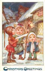 CHRISTMAS GREETINGS  three children sing carols