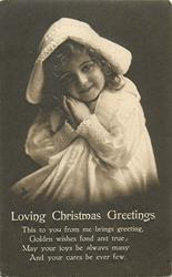 LOVING CHRISTMAS GREETINGS  young girl, hands to cheek