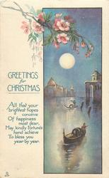 GREETINGS FOR CHRISTMAS  blossom above venetian inset