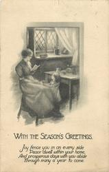 WITH THE SEASON'S GREETINGS  mother sits reading letter, daughter stands