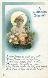 A CHRISTMAS GREETING  girl carries basket of chrysanthemums,  moon behind