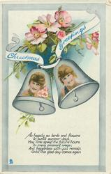CHRISTMAS GREETINGS  girls faces in 2 bells, dog-roses