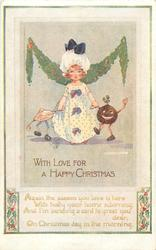 WITH LOVE FOR A HAPPY CHRISTMAS  girl, pudding & pie