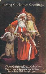 LOVING CHRISTMAS GREETINGS  seated Santa, boy & girl on each side, boy plays trumpet from left
