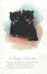 A HAPPY CHRISTMAS  2 black kittens