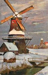 winter scene, cottage, haystack and bridge across stream in foreground, mill behind left