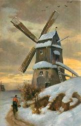 winter scene, man with yoke in front of mill