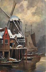 winter scene, two boats on water in foreground, three more behind jetty, in front of mill