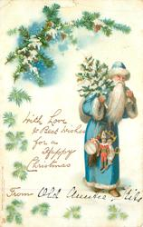 blue coated Santa with tree & toys, branch above