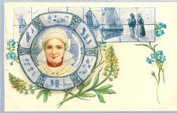 girl with lace headgear, forget-me-nots & mignonette