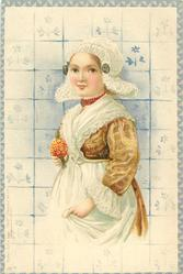 girl in brown dress, with white lace hat and apron