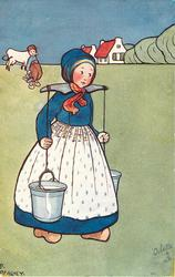 Dutch girl walking right carrying two milk pails with yoke, boy and cow watch