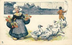 Dutch girl with baskets of flowers, six geese, boy in background