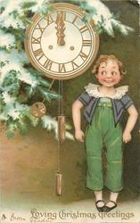 LOVING CHRISTMAS GREETINGS  girl and clock