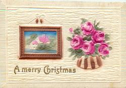 A MERRY CHRISTMAS  picture on wall to left, bowl of roses right