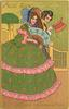 THE GENTLE ART OF MAKING LOVE  man & girl with green-pink dress, holds fan