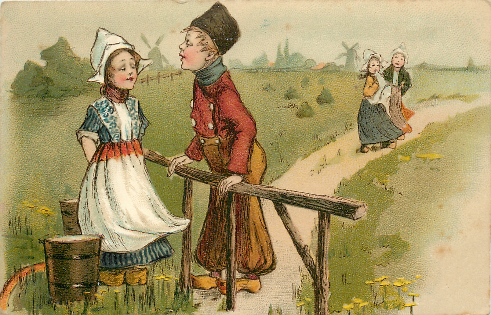 Dutch boy leans on fence, towards girl with two pails, two girls on path