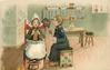 Dutch boy sits winding wool for girl seated in high chair, with her feet up