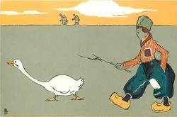 boy herding goose left, two windmills in background
