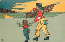 man and boy hold hands, walking toward boat on seashore, man holds net on pole