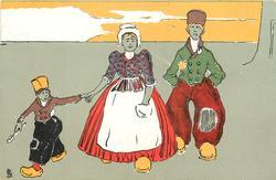 man, woman & boy holding spoon walk front
