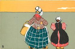 woman carrying basket left, girl right, both face away