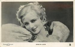 EVELYN LAYE  head & shoulder study, looks front, her head is tilted left
