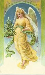 A BRIGHT AND HAPPY NEW YEAR  angel in yellow carrying christmas tree