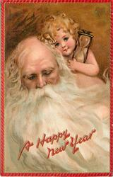 A HAPPY NEW YEAR head & shoulders of white bearded santa with infant holding hour glass