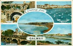 5 insets SPANISH ARCH/THE CLADDAGH/GALWAY BAY/SALMON WEIR BRIDGE/THE SALMON WEIR