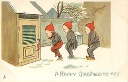 A HAPPY CHRISTMAS TO YOU  three dwarves line up in snow urgently waitng to use toilet