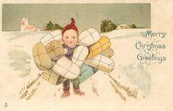 MERRY CHRISTMAS GREETINGS  dwarf walks front in snow carrying many packages