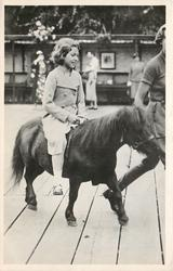 H.R.H. THE PRINCESS ELIZABETH AT THE ZOOLOGICAL GARDENS  riding pony