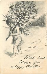 WITH BEST WISHES FOR A HAPPY CHRISTMAS angel walking in snow holding tree