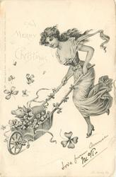 A MERRY CHRISTMAS  nouveau lady pushes small pig in wheelbarrow