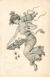A MERRY CHRISTMAS  nouveau lady carries small pig on her back