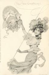 CHRISTMAS GREETINGS or NEW YEAR GREETINGS  nouveau lady with whip holds hoop, pig jumps through