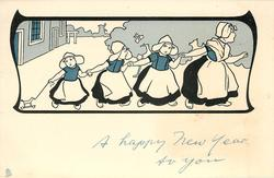 A HAPPY NEW YEAR TO YOU  upper inset mother drags three Dutch children right, same image*