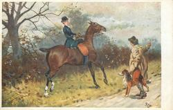 huntswoman in black, sidesaddle on horse , man with dog points to right