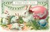A HAPPY EASTER TO YOU  white rabbit mother sits in pink shell looking at three youngsters playing, chain of lilies-of-the-valley