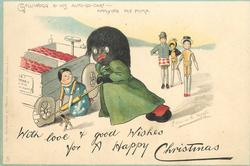 WITH LOVE & GOOD WISHES FOR A HAPPY CHRISTMAS, GOLLIWOGG & HIS AUTO-GO-CART- APPLYING THE PUMP