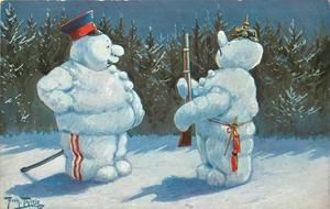 soldier snowman presents arms to officer snowsoldier
