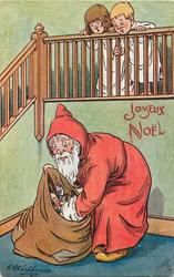 Santa looks in sack, two children peer over bannisters