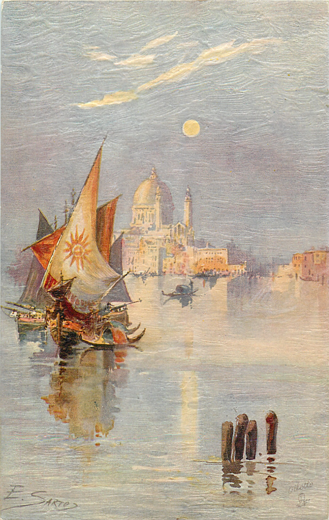 two sailboats left center, city behind with large dome, gondola behind/right of sailboats, four post lower right