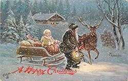 green robed Santa beside reindeer  pulling sled driven by yellow robed girl