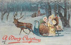 yellow robed Santa driving sled pulled by reindeer